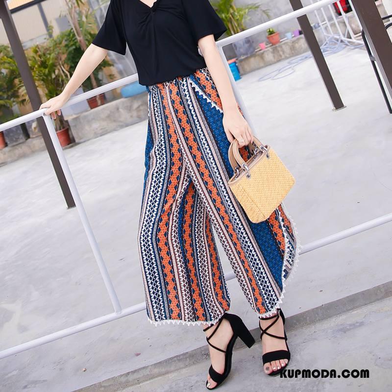 Spodnie Damskie Eleganckie Moda Tendencja Casual Lato Kieszenie Niebieski