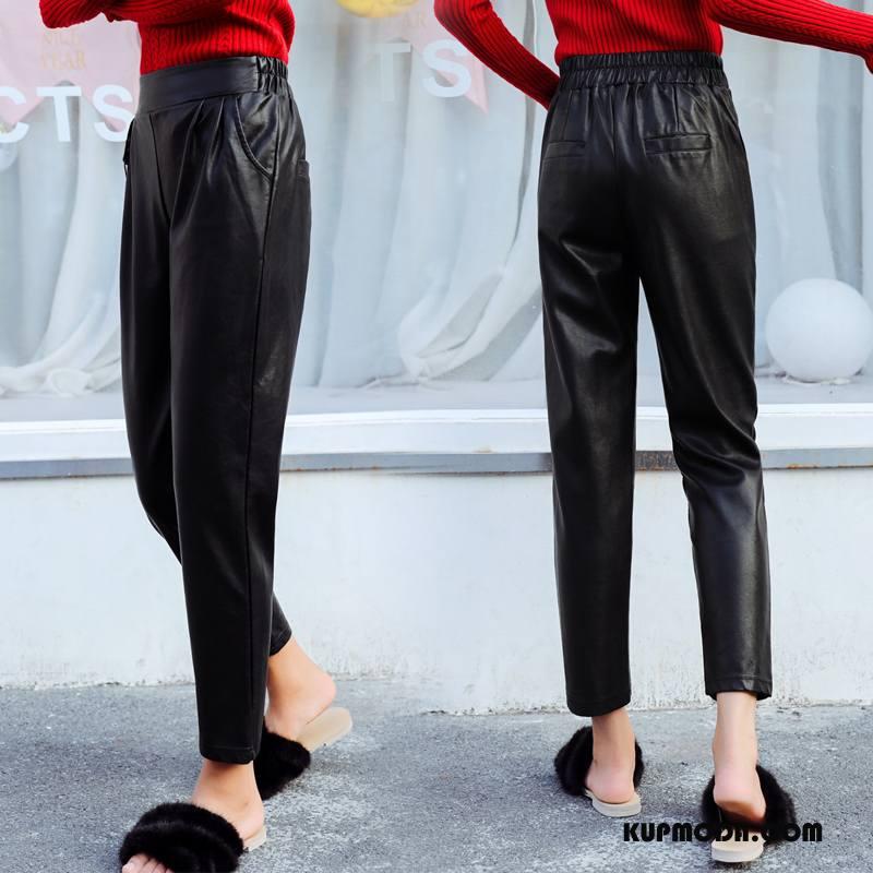 Spodnie Damskie Jesień Szerokie Tendencja 2018 Casual Moda Czysta Czarny