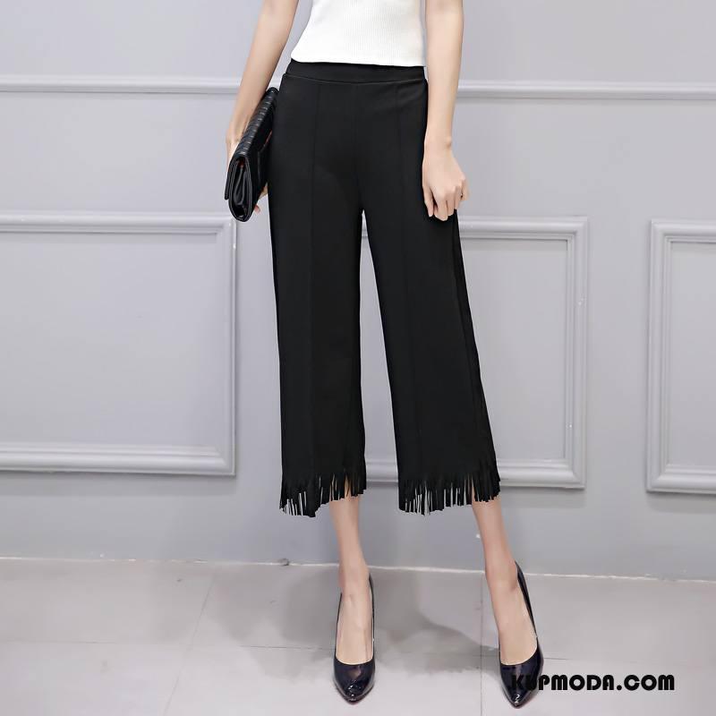 Spodnie Damskie Moda Nowy Środkowa Stan Eleganckie 2018 Czysta Czarny