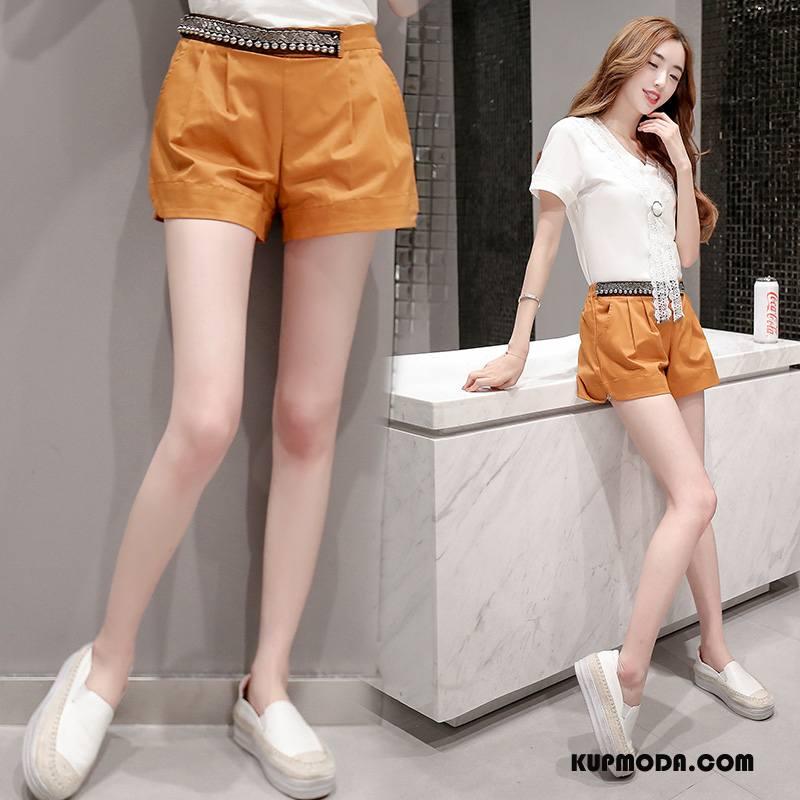 Spodnie Damskie Oryginalny Proste Lato Projekt Eleganckie Cienkie Czysta Oranż