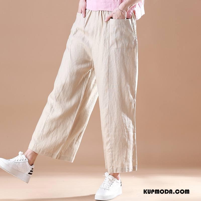 Spodnie Damskie Wysoki Stan Z Bawełny Casual Lato Czysta Moda Beżowy Biały