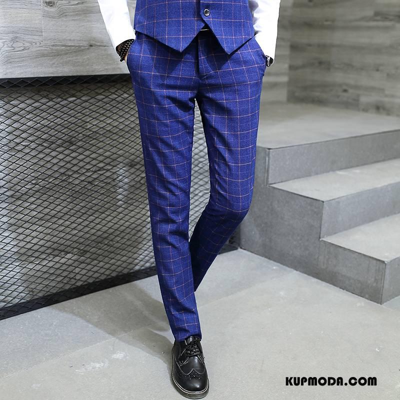 Spodnie Garniturowe Męskie Biurowe Tendencja Slim Fit Wiosna Nowy Biznes Niebieski