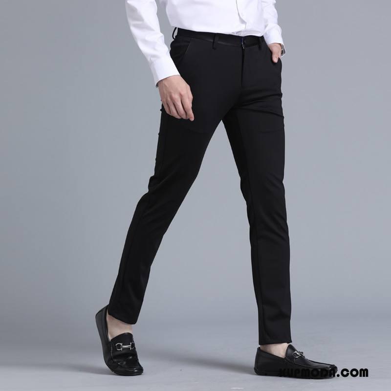 Spodnie Garniturowe Męskie Biznes Cienkie Brytyjskie Lato Slim Fit Casualowe Spodnie Czarny