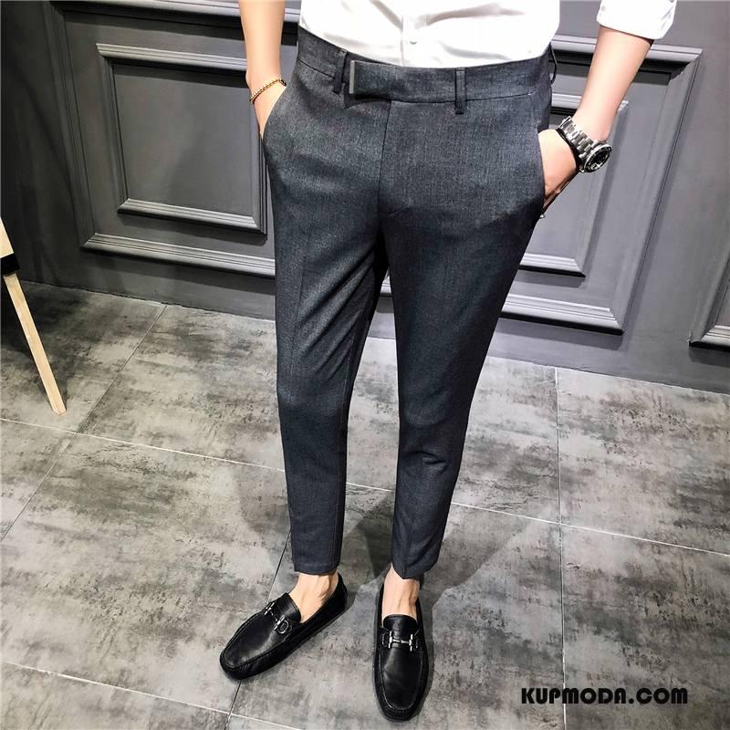 Spodnie Garniturowe Męskie Brytyjskie Casual Cienka Długie Męska Ołówkowe Spodnie Szary