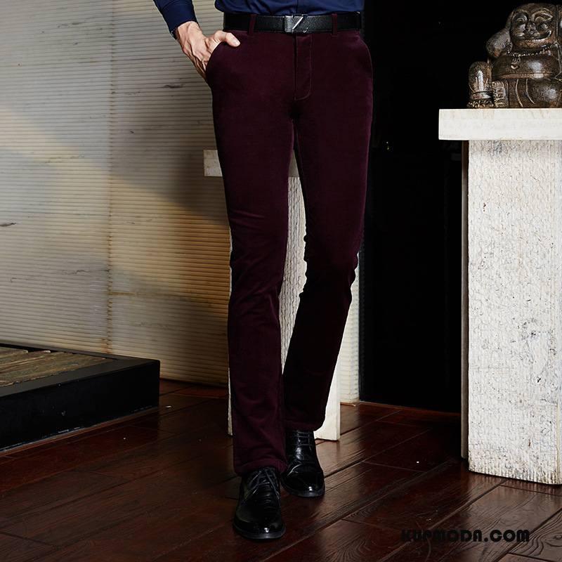 Spodnie Garniturowe Męskie Casual Nowy Młodzież Sztruksowe Slim Fit Jesień Bordeaux