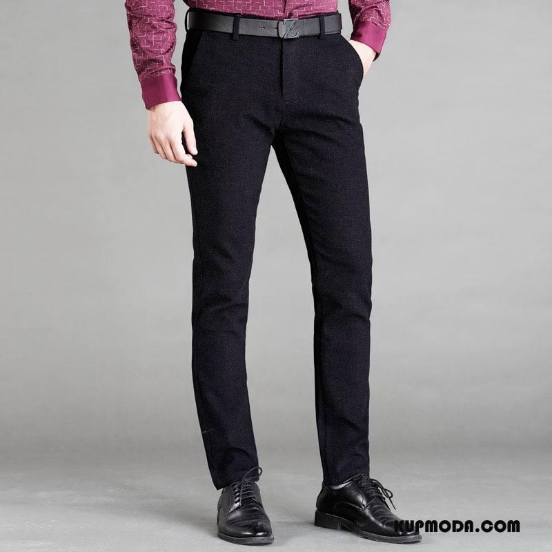 Spodnie Garniturowe Męskie Casualowe Spodnie Jesień Elastyczne Męska Nowy Młodzież Czarny