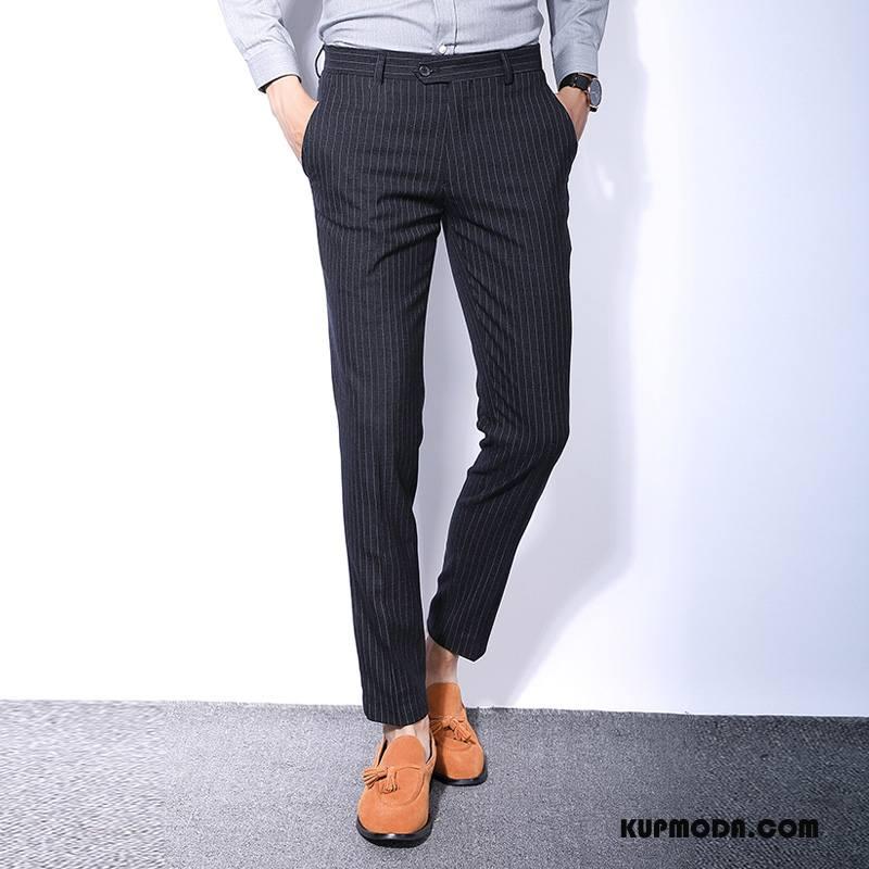 Spodnie Garniturowe Męskie Casualowe Spodnie Nowy Wiosna W Paski Czarny