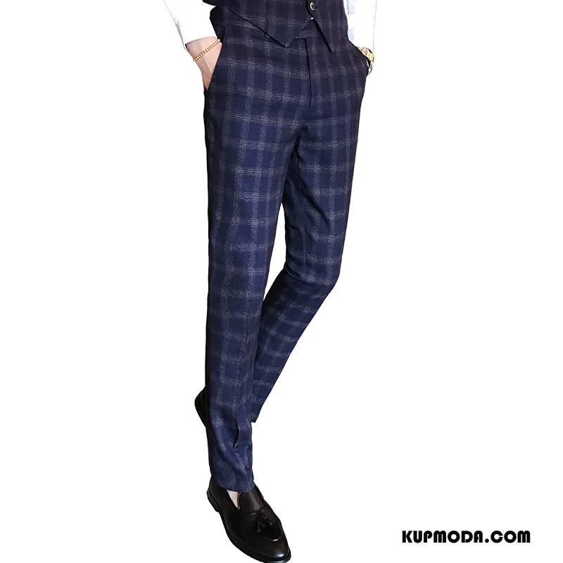 Spodnie Garniturowe Męskie Casualowe Spodnie Tendencja Jesień Proste Męska Ołówkowe Spodnie Ciemno Niebieski