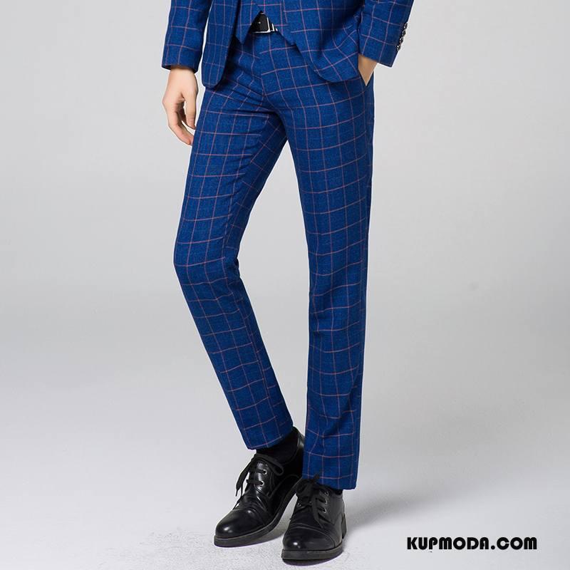 Spodnie Garniturowe Męskie Krata Niebieski