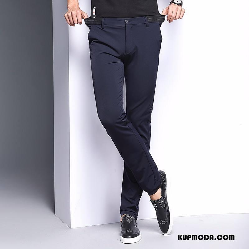 Spodnie Garniturowe Męskie Męska Spodnie Elastyczne Nowy Wiosna Wysoki Koniec Jesień Ciemno Niebieski Czarny