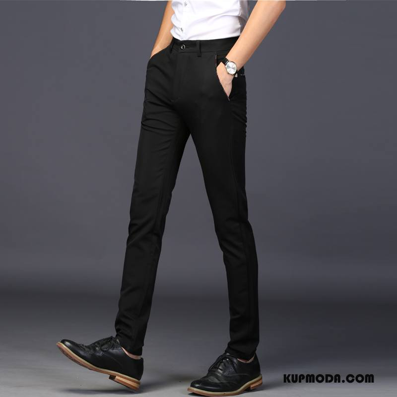 Spodnie Garniturowe Męskie Ołówkowe Spodnie Biznes Młodzież Slim Fit Męska Casualowe Spodnie Czarny