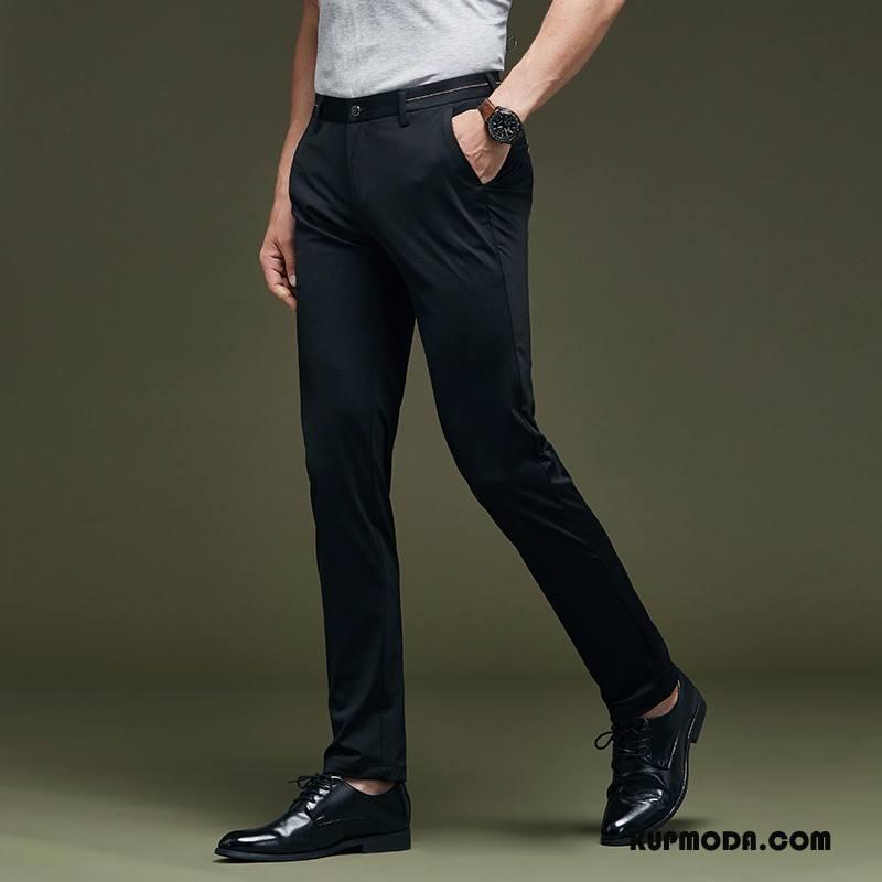 Spodnie Garniturowe Męskie Slim Fit Lato Cienkie Spodnie Cargo Wiosna Casualowe Spodnie Czarny
