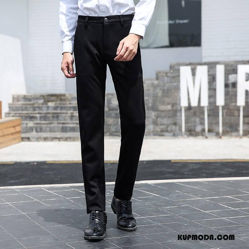 Spodnie Garniturowe Męskie Tendencja Brytyjskie Wysoki Koniec Moda Biznes Młodzież Czarny