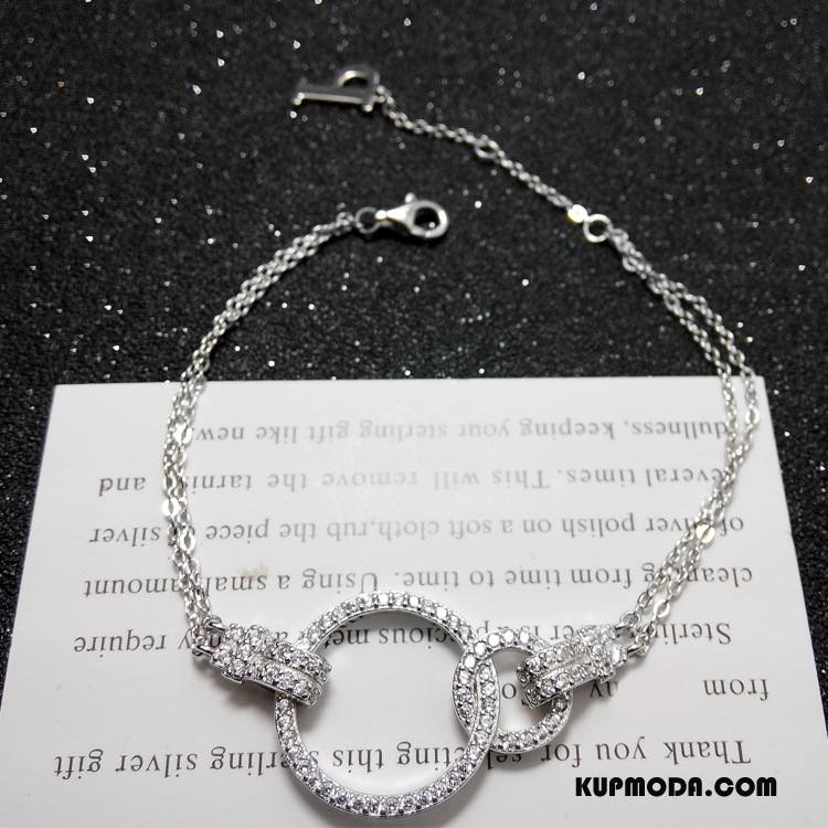 Srebrna Biżuteria Damskie Bransoletki Pure Z Kryształkami Podwójna Srebrny