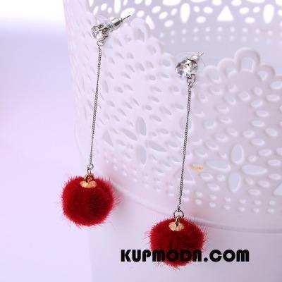 Srebrna Biżuteria Damskie Długa Sekcja Eleganckie Futrzany Pompon Pluszowa Wisiorek Damska Czerwony