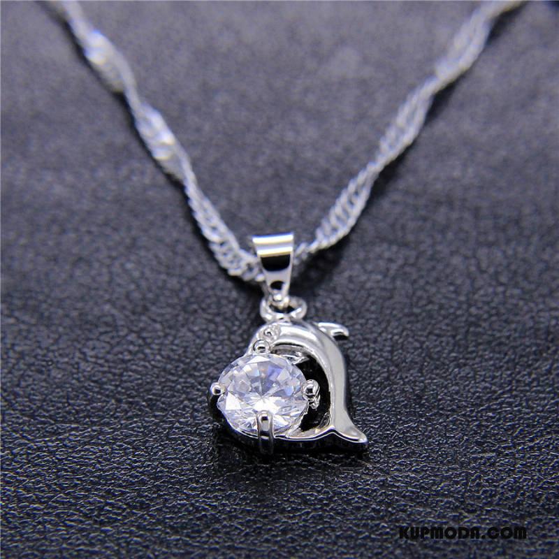 Srebrna Biżuteria Damskie Damska Wisiorek Z Kryształkami Butik Akcesoria Moda Złoty Srebrny Biały