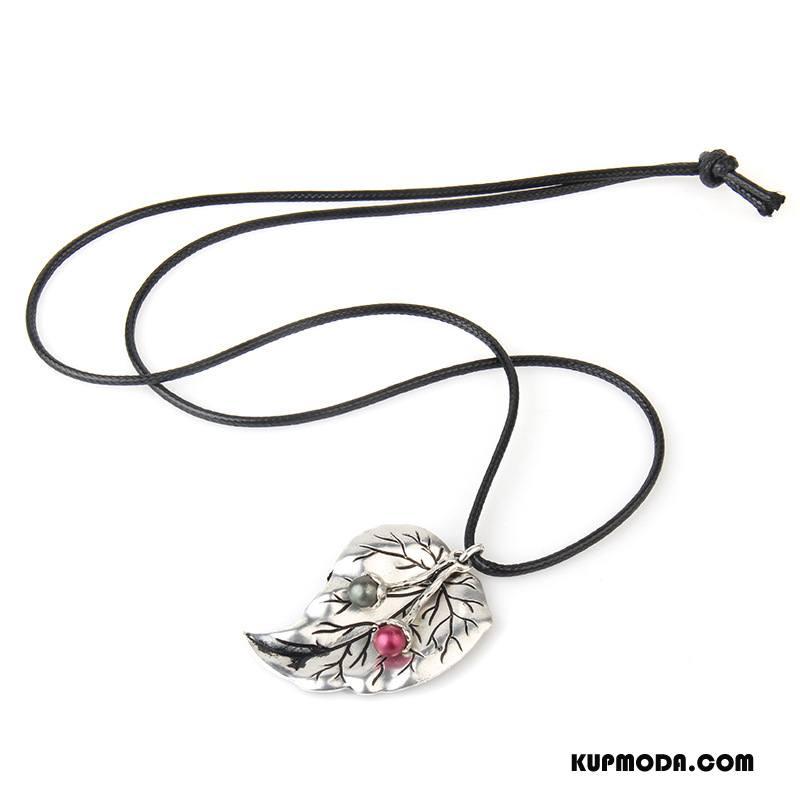 Srebrna Biżuteria Damskie Mały Sweter Świeży Sztuka Bawełna I Len Vintage Srebrny
