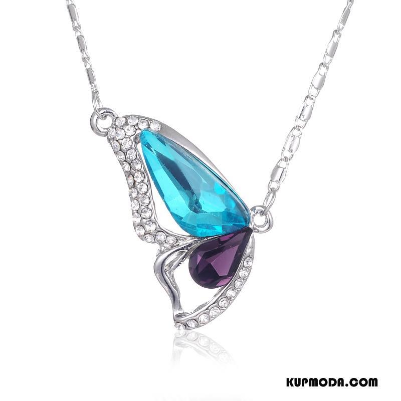 Srebrna Biżuteria Damskie Moda Akcesoria Kryształ Ze Skrzydłami Nowy Motyl Niebieski Złoty Srebrny