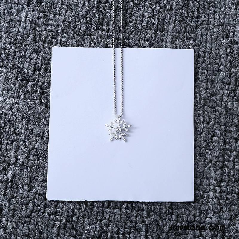 Srebrna Biżuteria Damskie Wisiorek Płatek Śniegu Akcesoria Pure Moda Z Kryształkami Srebrny