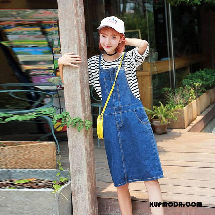 Sukienka Dżinsowa Damskie Szelki Osobowość Tendencja Moda Kieszenie Sprane Czysta Niebieski