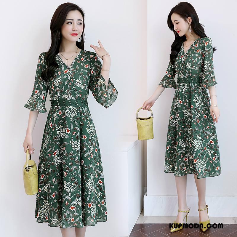 Sukienka Damskie 2018 Moda Rękawy Kwiaty Flare Eleganckie Zielony