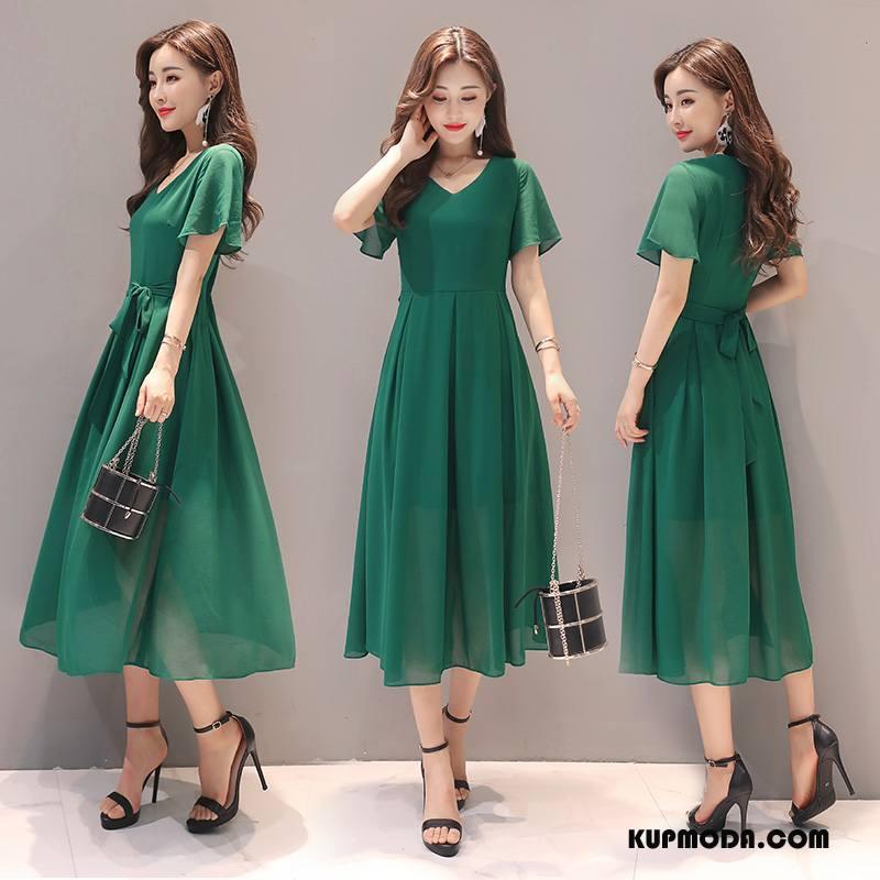 Sukienka Damskie 2018 Pullover Eleganckie Szyfon Długie Krótki Rękaw Czysta Zielony