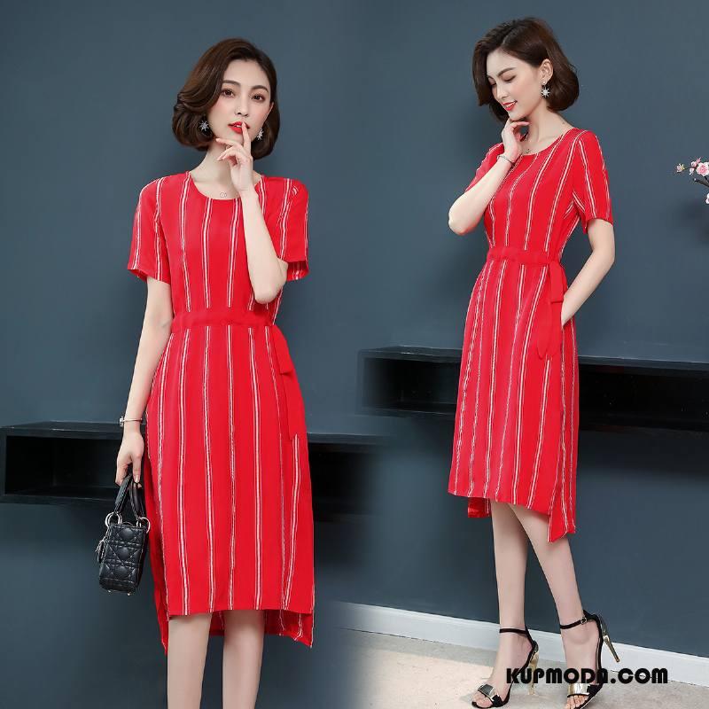 Sukienka Damskie Asymetryczny Lato Długie Krótki Rękaw Osobowość Okrągły Dekolt Czerwony
