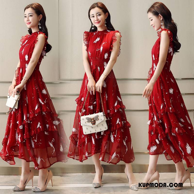 Sukienka Damskie Bez Rękawów Okrągły Dekolt Lato Pullover Kwiatowa Duże Czerwony