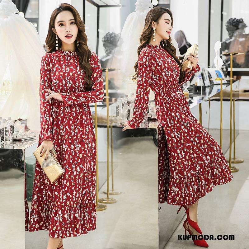 53942ba574 Sukienka Damskie Długi Rękaw Kwiaty Wiosna Moda Środkowa Stan Pullover  Czerwony Tanie