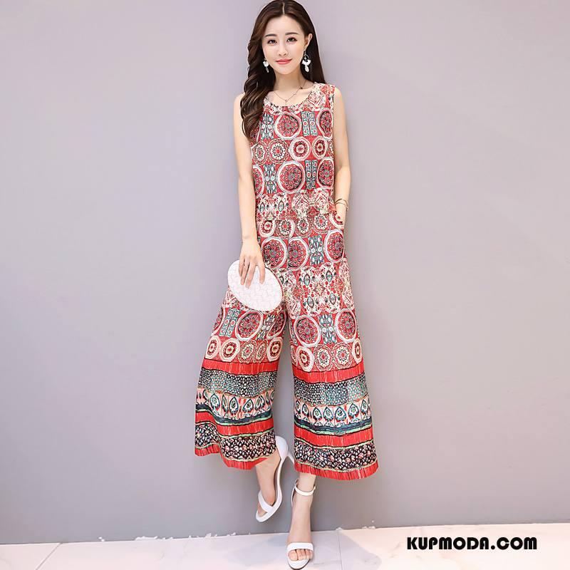 Sukienka Damskie Eleganckie Drukowana Tendencja Lato Moda Bez Rękawów Czerwony