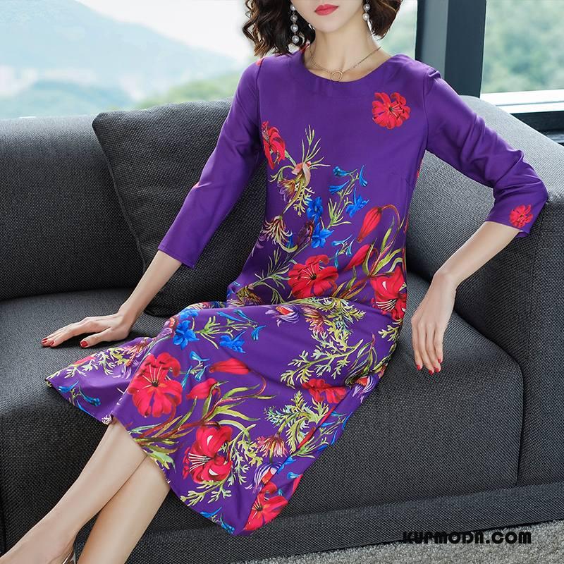 Sukienka Damskie Eleganckie Rękawy Wiosna Długie Roślina Slim Fit Fioletowy
