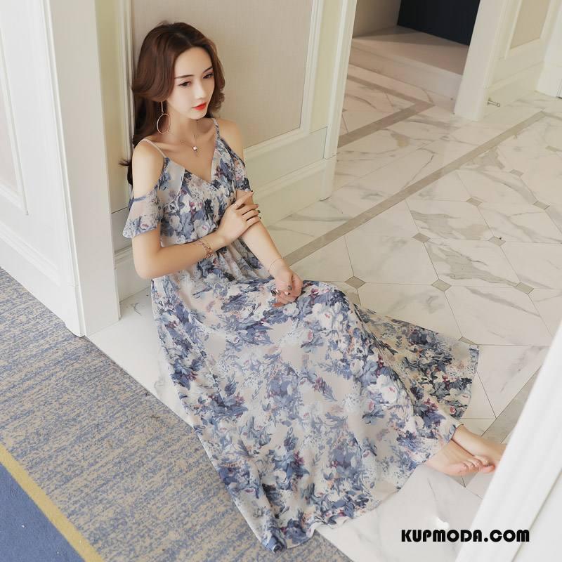 Sukienka Damskie Gwiazdy Kwiatowa Pullover 2018 Lato Bez Rękawów Granatowy