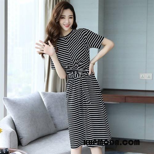Sukienka Damskie Krótki Rękaw Slim Fit Lato Długie Tendencja Eleganckie Biały Czarny