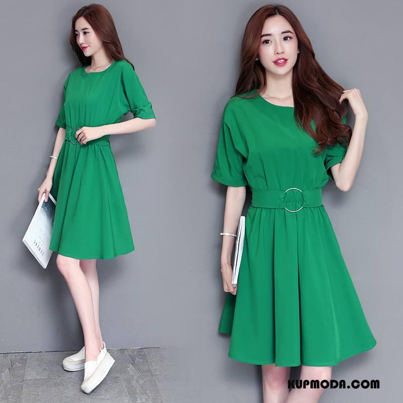 Sukienka Damskie Moda Długie Pullover Okrągły Dekolt Krótki Rękaw Słodkie Zielony