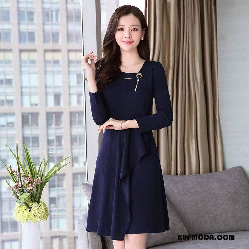 Sukienka Damskie Moda Nowy Wiosna Pullover 2018 Długie Granatowy Czysta