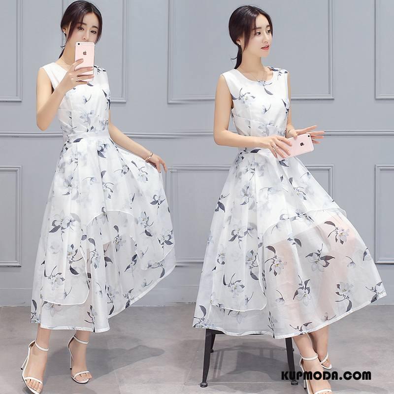 Sukienka Damskie Okrągły Dekolt Lato Krótki Rękaw Swag Długie Kwiaty Biały