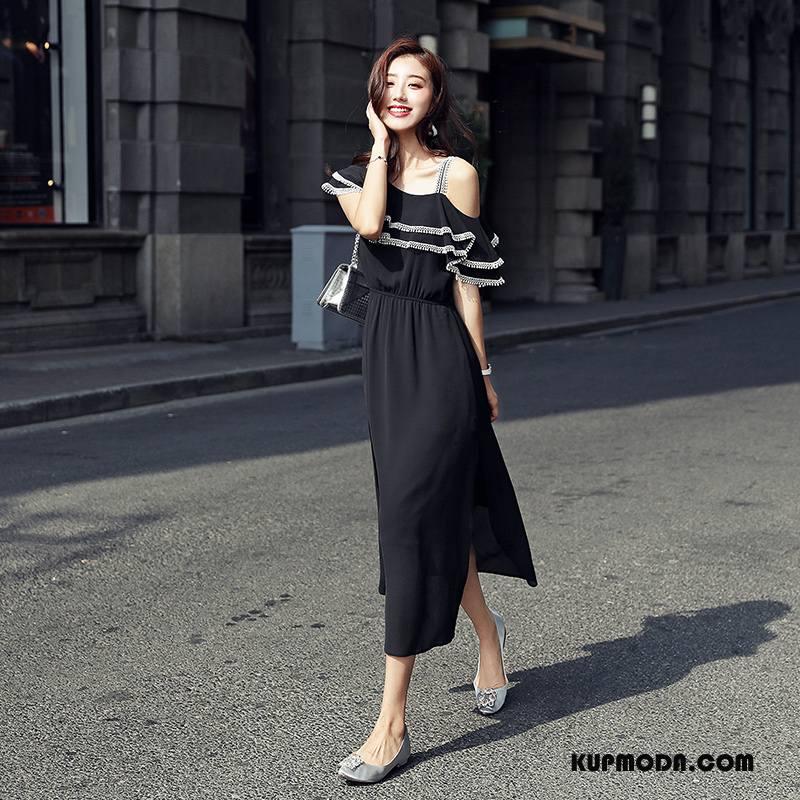 Sukienka Damskie Rękawy Wiosna Wysoki Stan Pullover Krótki Rękaw Długie Czysta Czarny