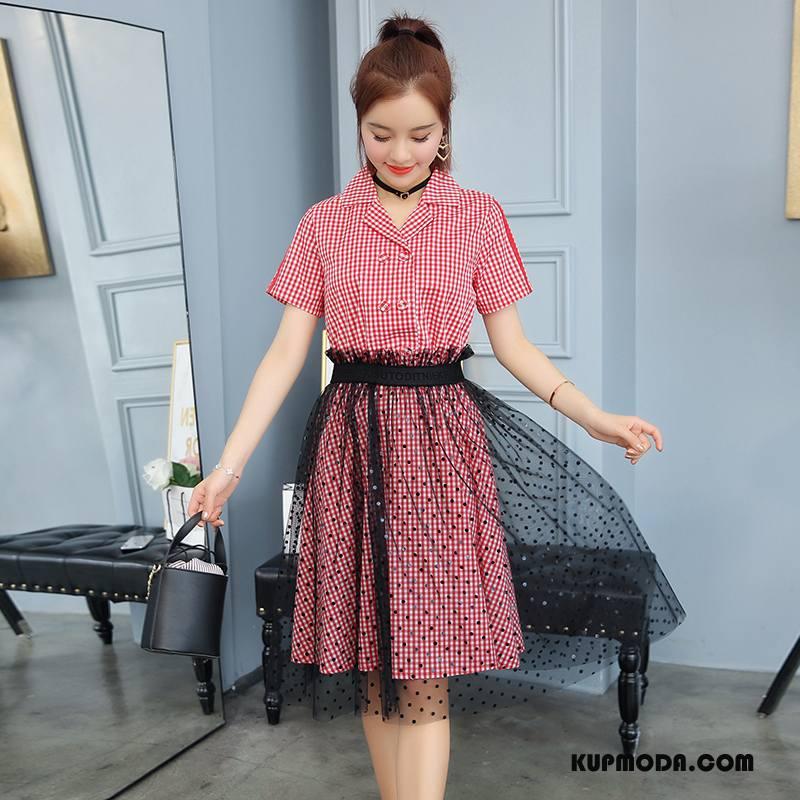 Sukienka Damskie Slim Fit Cienkie Eleganckie Lato Moda Gazy Czerwony