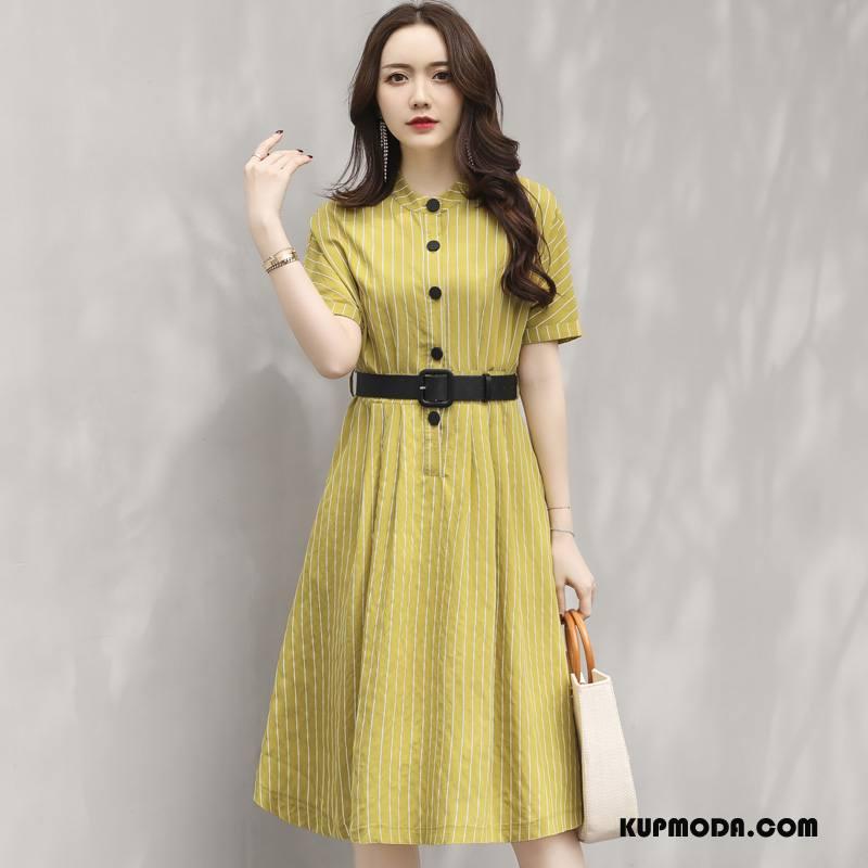 Sukienka Damskie Szerokie Lato Długie 2018 Moda Cienkie Żółty