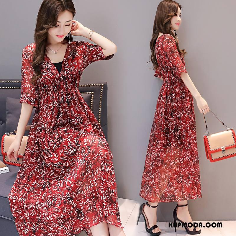 Sukienka Damskie Tendencja Długie Eleganckie 2018 Moda Casual Czerwony