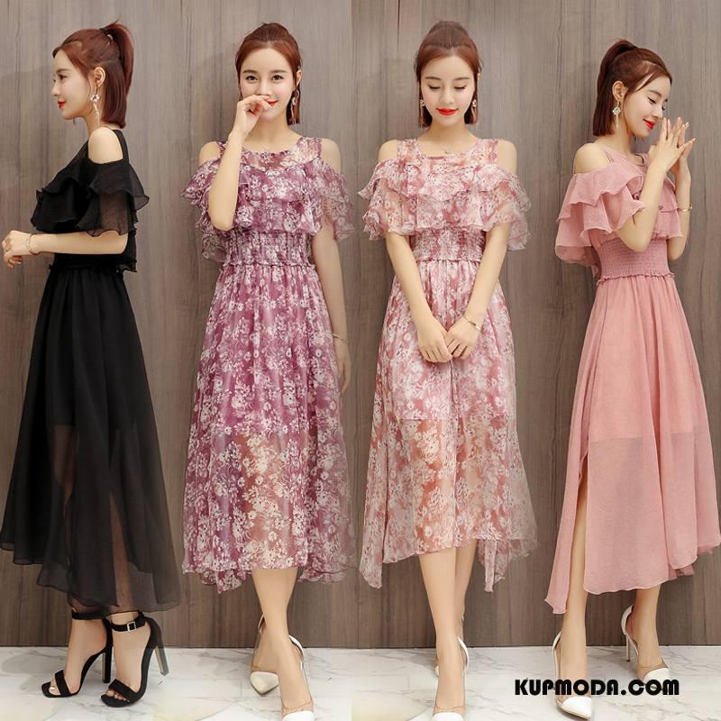 Sukienka Damskie Tendencja Eleganckie Casual Ciasno W Talii Kwiatowa Lato Różowy