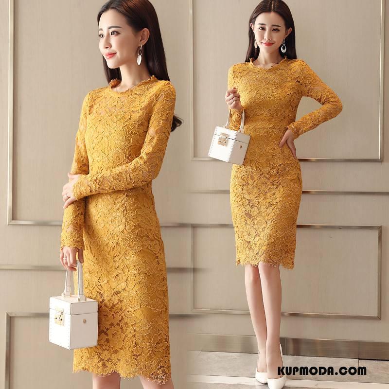 Sukienka Damskie Wiosna Świeży Cienkie Eleganckie Slim Fit Moda Żółty
