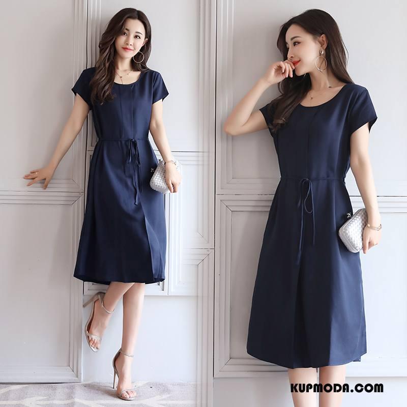 Sukienka Damskie Wysoki Stan Długie Okrągły Dekolt Wiosna Pullover Krótki Rękaw Granatowy Czysta
