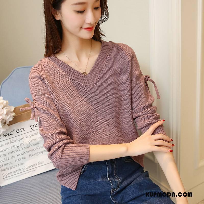 Swetry Damskie Cienkie Moda Sweter Pullover Długi Rękaw Kardigan Z Dzianiny Kawowy Czysta Fioletowy