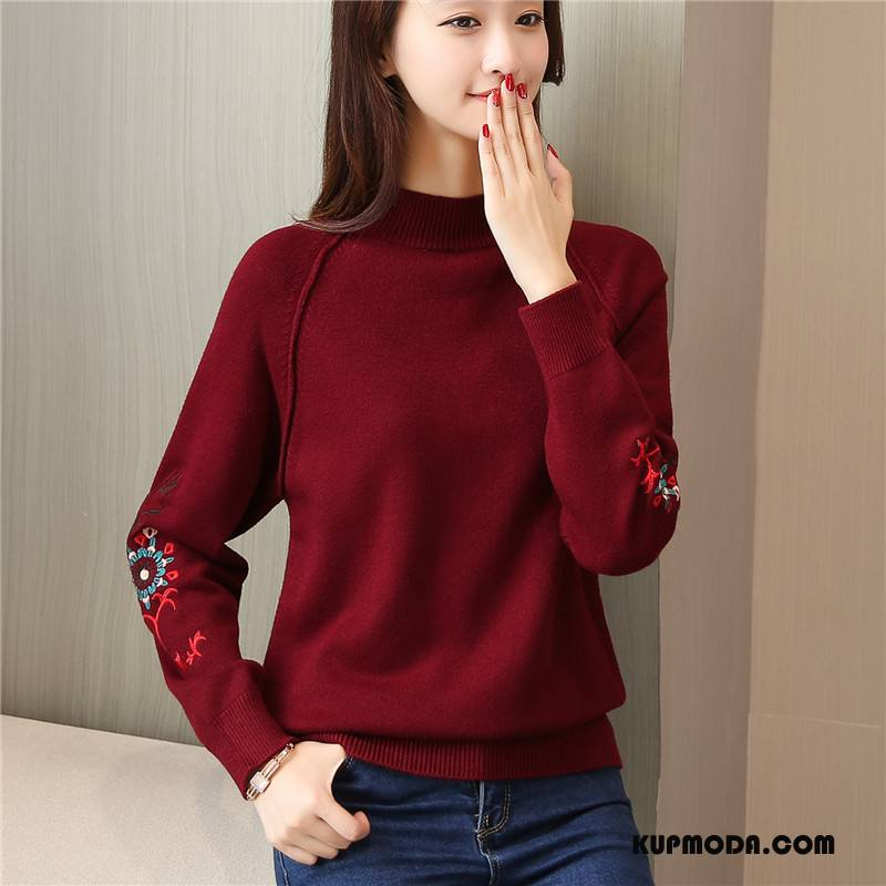 Swetry Damskie Długi Rękaw Mieszać Pullover Slim Fit Rękawy Moda Burgund