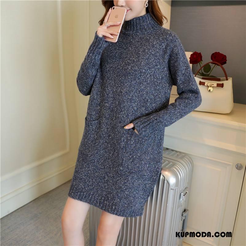 Swetry Damskie Długie Zima Pullover Długi Rękaw Sweter Casual Ciemno Niebieski Czysta