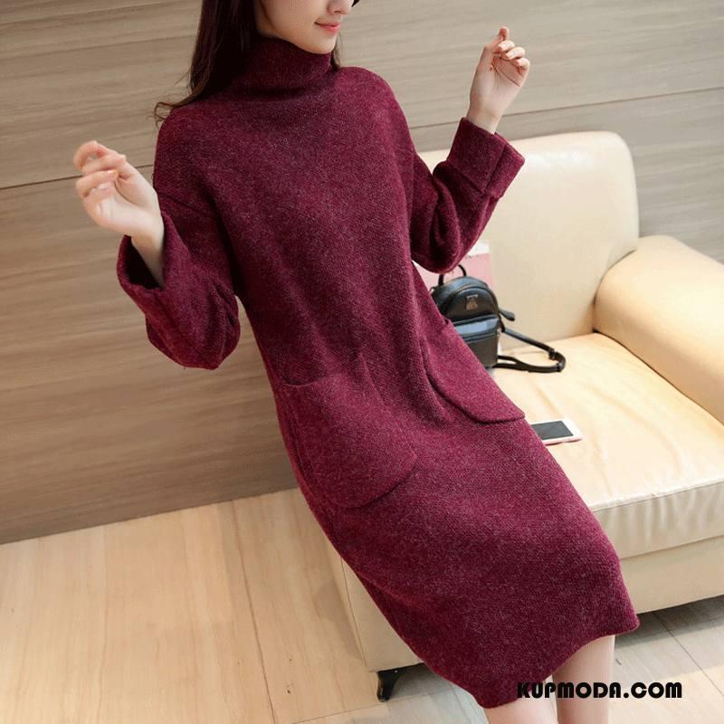 Swetry Damskie Kieszenie Długie Proste Szycie Pullover Zima Burgund Czysta