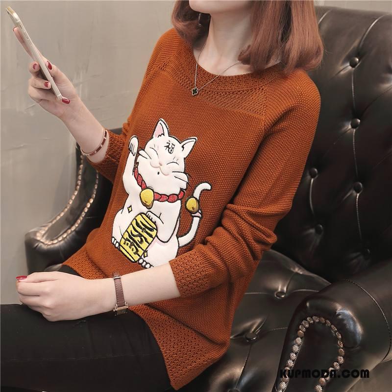 Swetry Damskie Okrągły Dekolt Wysoki Słodkie Długi Rękaw Zwierzę Sweter Karmel