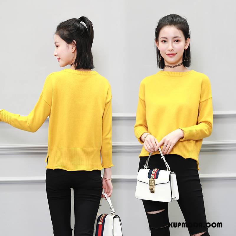 Swetry Damskie Pullover Okrągły Dekolt Sweter Szerokie 2018 Moda Czysta Żółty