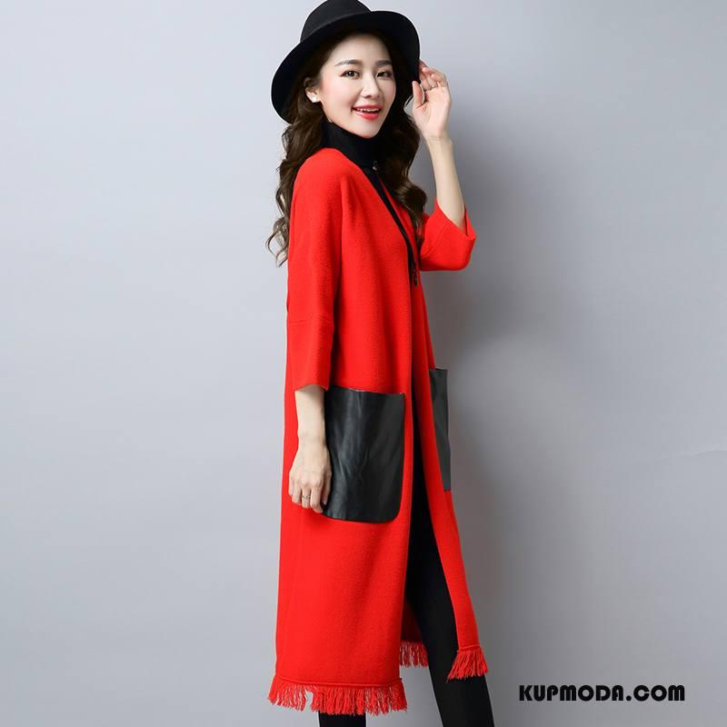 Swetry Damskie Sweter Casual Moda Kardigan Z Dzianiny Proste Jesień Czerwony